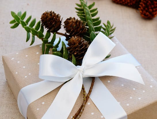 kraft white ribbon foliage and pine cones